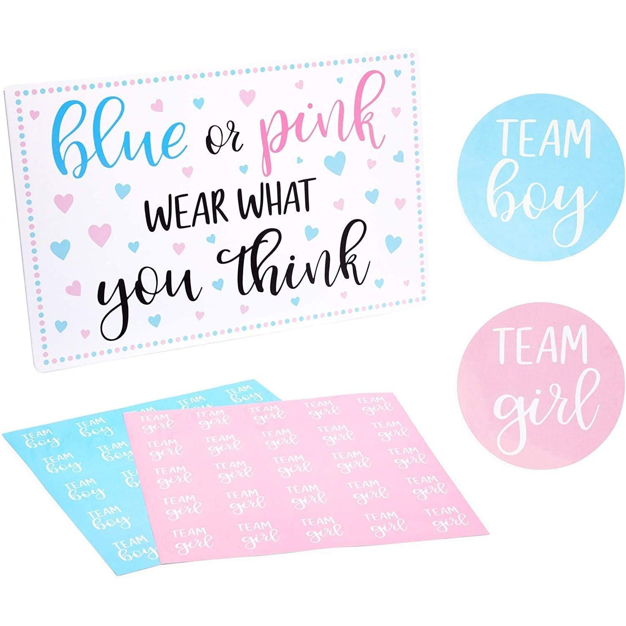 N// A 120Pcs Gender Reveal Stickers Team Boy and Team Girl Baby Shower Sticker Labels for Voting Games and Party Supplies