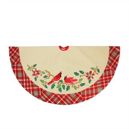 """48"""" Country Cabin Embroidered Cardinal Birds Christmas Tree Skirt with Red Plaid Border - image 1 of 1"""