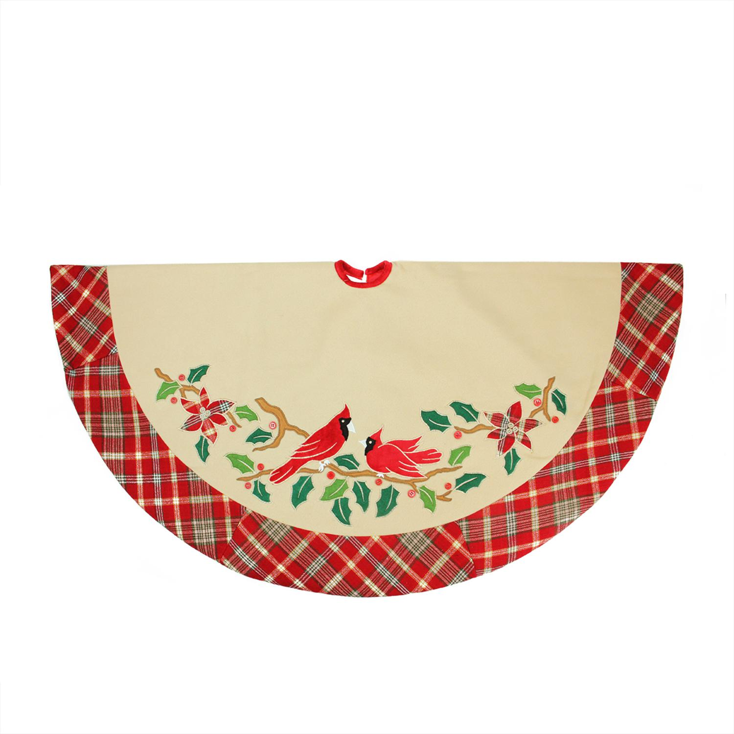 "48"" Country Cabin Embroidered Cardinal Birds Christmas Tree Skirt with Red Plaid Border"