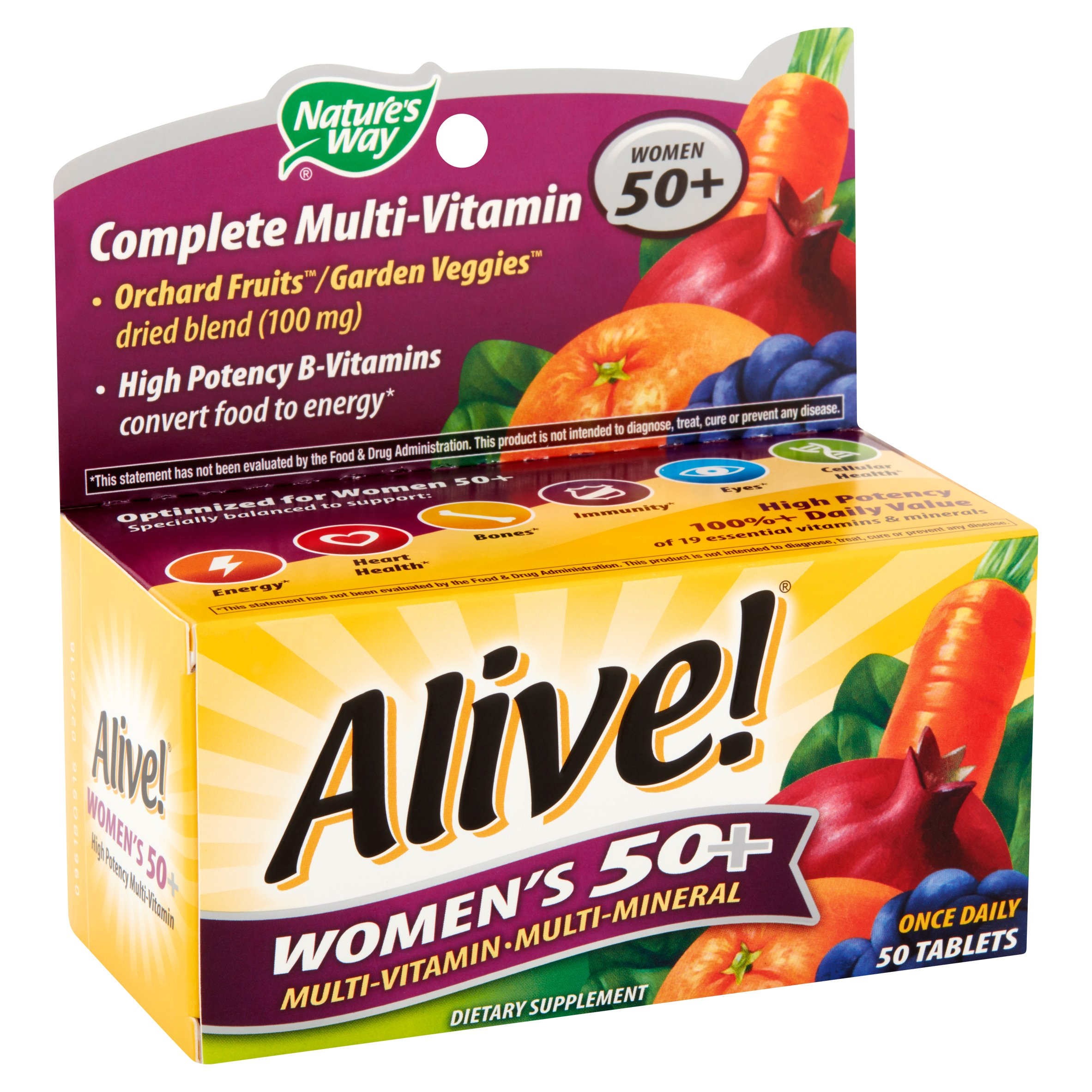 Nature's Way Alive! Women's 50+ Vitamins, Multivitamin Supplement Tablets, 50 Count