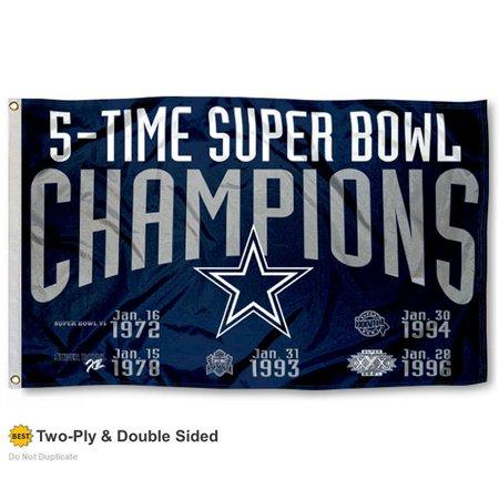 Dallas Cowboys 5 Time Super Bowl Champions Two Sided Flag