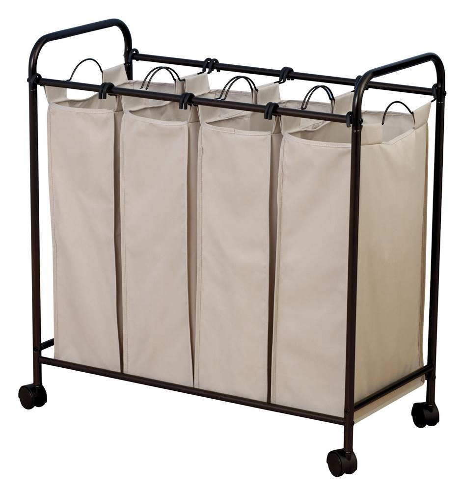 Household Essentials Rolling Quad Sorter Laundry Hamper with Natural Polyester Bags, Antique Bronze by Generic