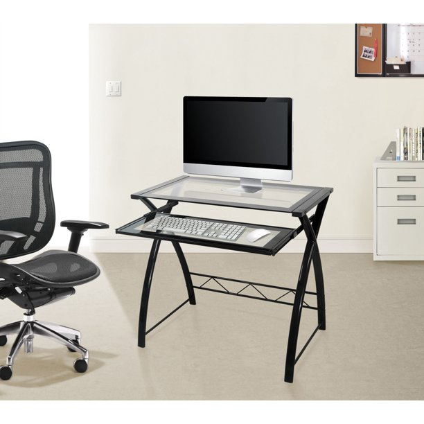 Computer Desk with Keyboard Tray, Black/Clear