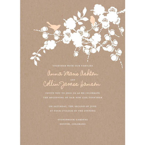 love birds standard wedding invitation - walmart, Wedding invitations