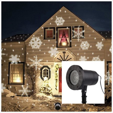 Christmas Landscape Lights Projector Topchances Light Moving White Snowflake Spotlight Led For Holiday Tree Garden Patio
