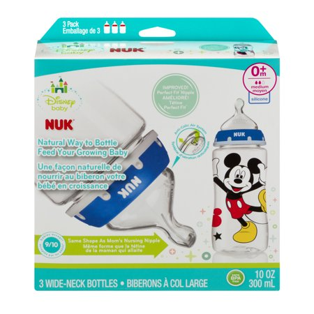 Nuk Disney Mickey Mouse 10 Oz Silicone Orthodontic Bottle  Med Flow  3 Ct