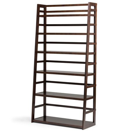 Brooklyn + Max Brunswick Solid Wood 72 inch x 36 inch Rustic Wide Ladder Shelf Bookcase in Tobacco