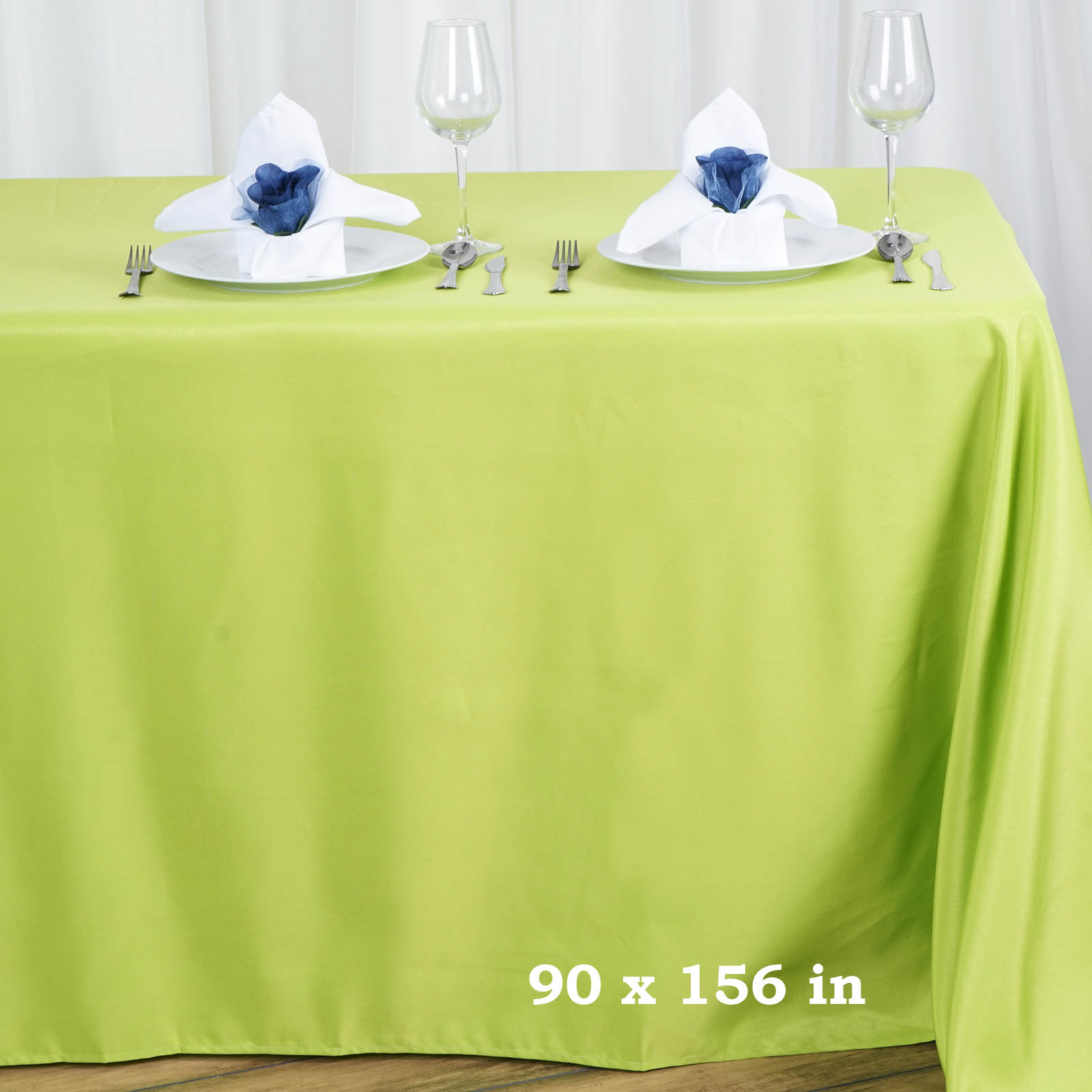 "BalsaCircle 90"" x 156"" Polyester Rectangular Tablecloth with Rounded Corners for Party Wedding Reception Dining Home Table Linens"
