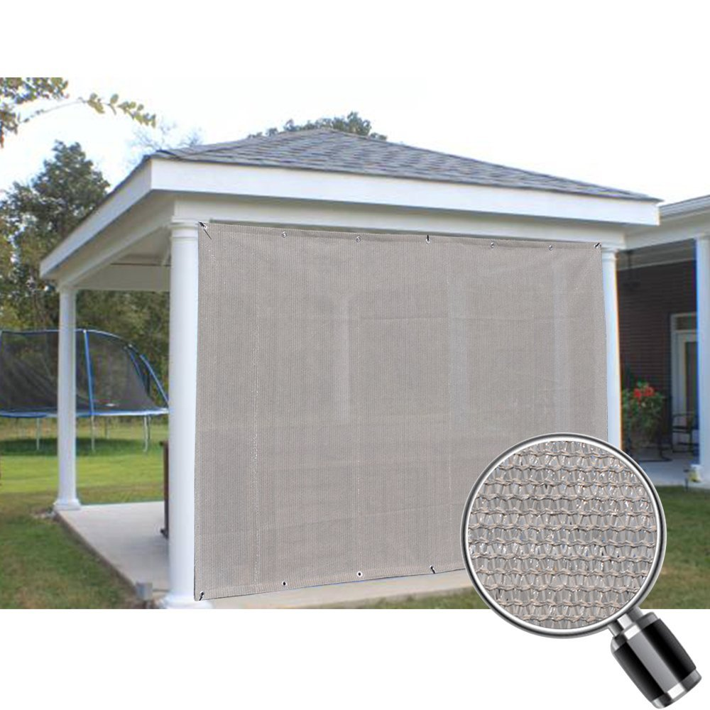 Alion Home Smoke Grey Sun Shade Privacy Panel with Grommets on 4 Sides for Patio, Awning, Window, Pergola or Gazebo  8' x  6'