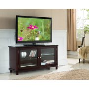 "47"" Dark Cherry Wood Entertainment Center TV Console Stand With Storage Glass Cabinets & Shelves"