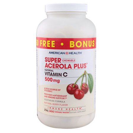 American Health Super Acerola Plus Natural Vitamin C Chewable Berry 500 mg - 300 Chewable -