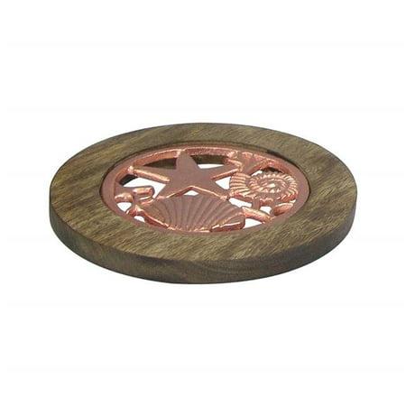 Copper Trivet - NuSteel TG-TRI-01C Wooden Trivet with Burnt Wood & Copper