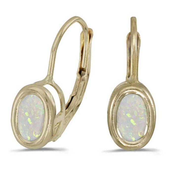 1 2ct Bezel Set Oval Opal Leverback Earrings in 14k Yellow Gold by SuperJeweler