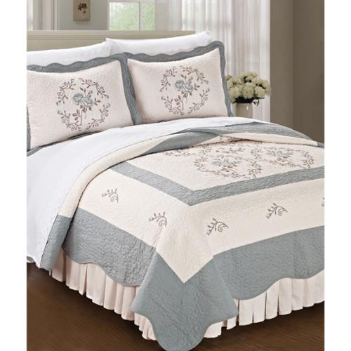 BNF Home Serenta Classic Embroidered Prewashed Roses 3-piece Bedspread Set