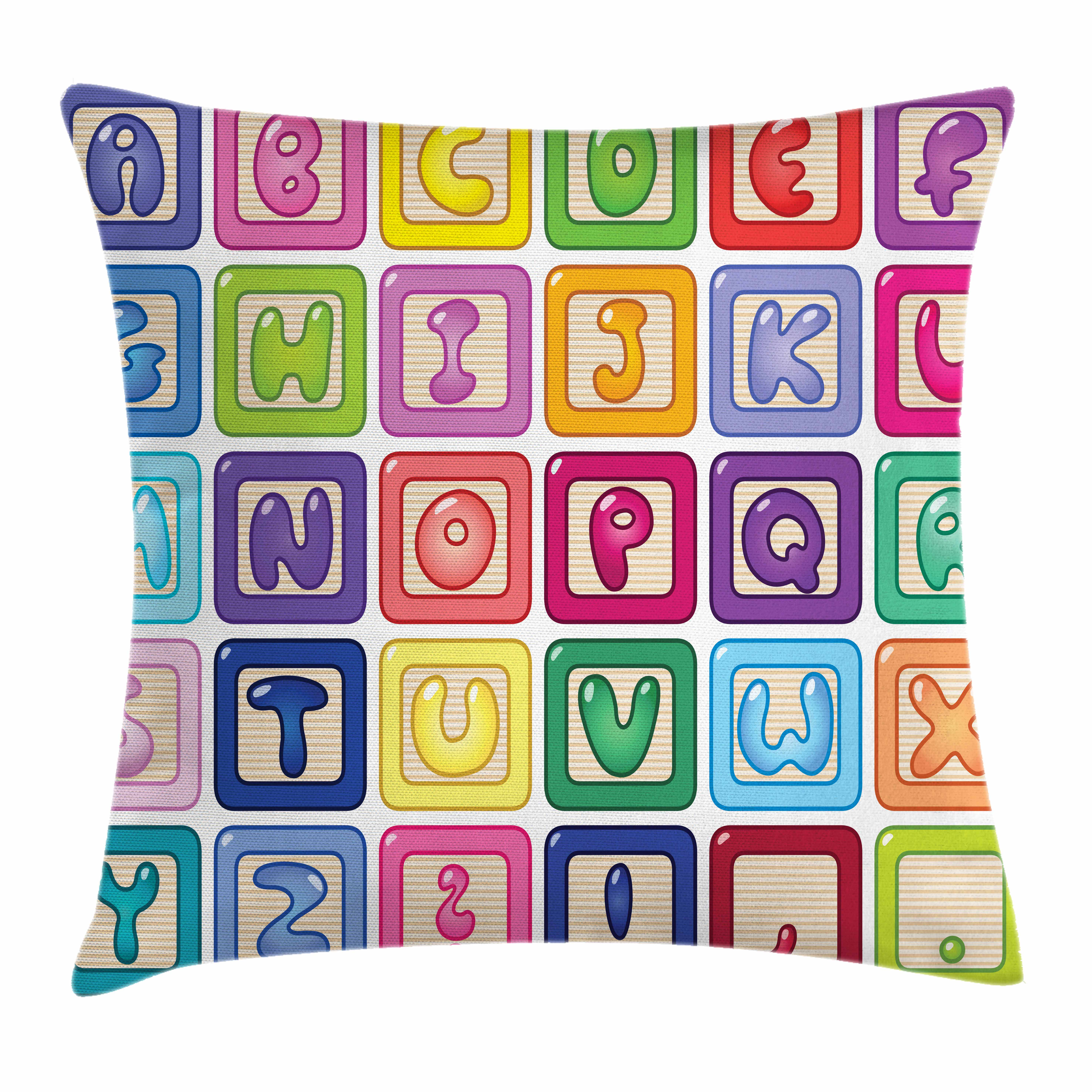 Kid's Activity Throw Pillow Cushion Cover, Colorful English Alphabet Blocks Childrens Cartoon Balloon Letter Design, Decorative Square Accent Pillow Case, 16 X 16 Inches, Multicolor, by Ambesonne