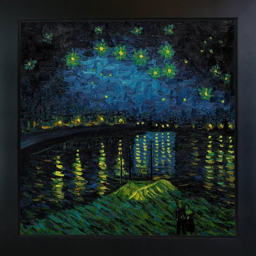 Wildon Home 'Starry Night Over the Rhone' Canvas Art by Vincent Van Gogh Impressionism in New Age Black Frame