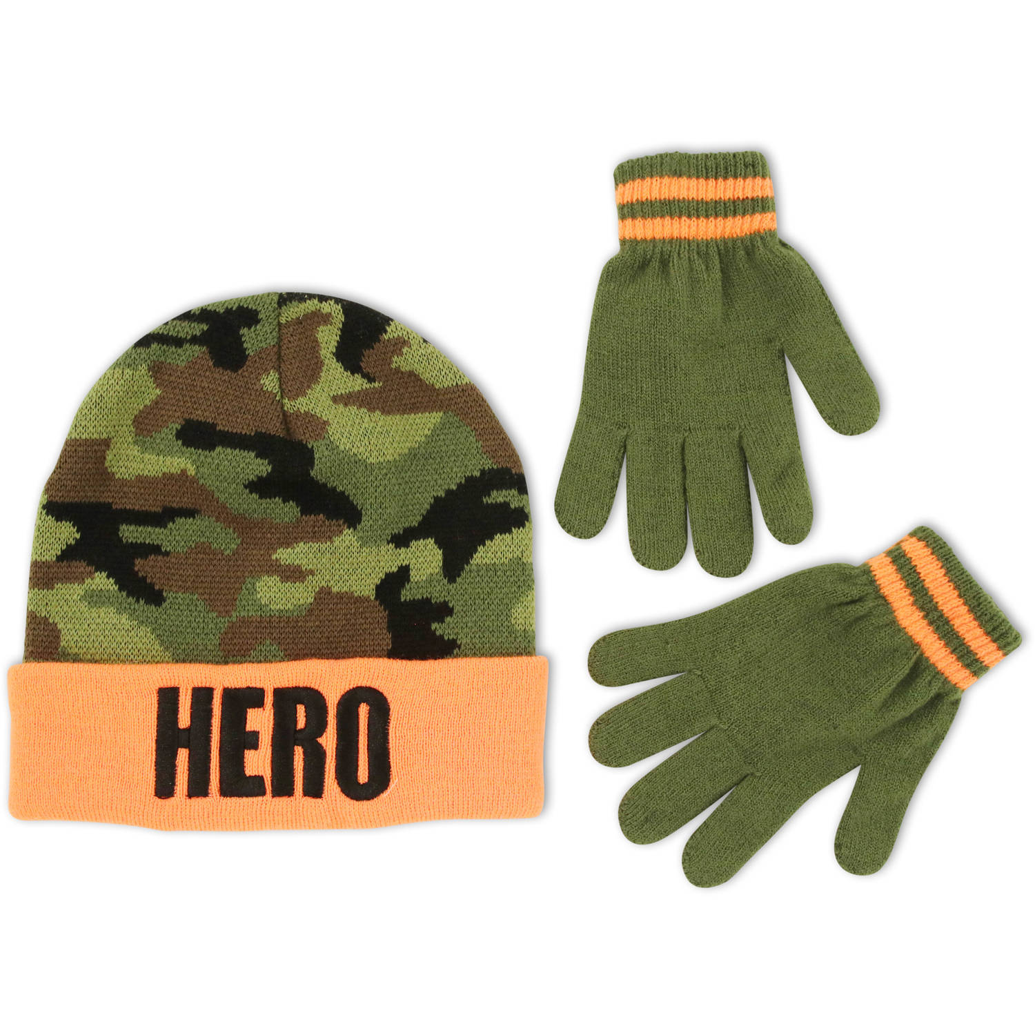 Image of ABG Accessories Big Boys Cuffed Beanie Winter Hat and Gloves Set, Age 7-10