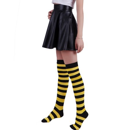 1aa46ac4892 Women s Extra Long Striped Socks Over Knee High Opaque Stockings (Black    Red) ...
