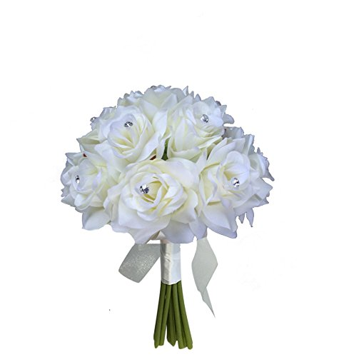 "8"" Wedding Bridal Rose bouquet - One Dozen Roses With Rhinestone - Artificial Flower Bridesmaid Toss (Lavender(Ivory ribbon))"