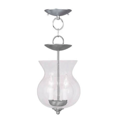 - Pendants 2 Light With Brushed Nickel Hand Blown Clear Seeded Glass 8 inches 120 Watts - World of Crystal