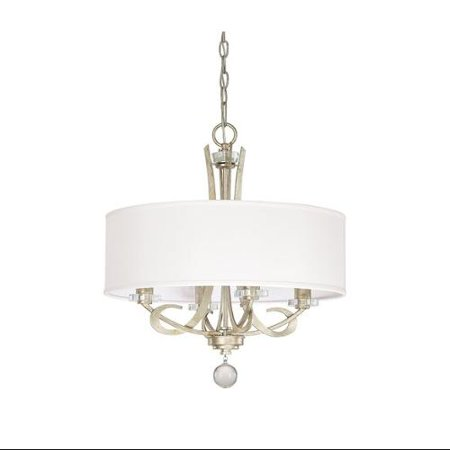 Capital Lighting Hutton   Four Light Chandelier  Winter Gold Finish With White Fabric Shade With Clear Crystal