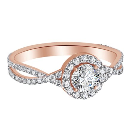 0.64 Ct White Natural Diamond Cross Over Shank Engagement Ring in 14k Rose Gold Ring Size - 5.5