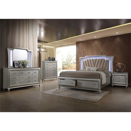 Acme Kaitlyn Bed with LED Headboard in PU and Champagne, Multiple Size