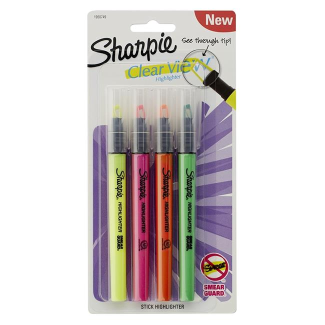 Sanford Ink 1950749 Clearview Pen-Style Highlighter - Fine Chisel Tip, Assorted Ink - 4 per Pack