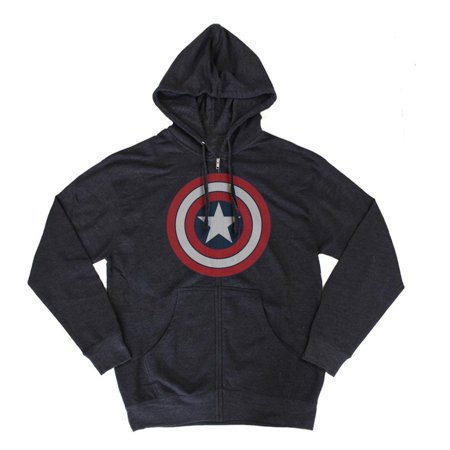 Marvel Captain America Distressed Logo Navy Blue Zip Up Hoodie Sweatshirt | 2XL Blue Zip Hooded Sweatshirt