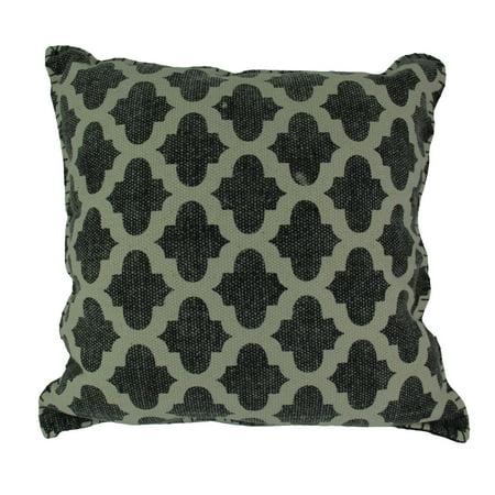 Charcoal Gray Moroccan Quatrefoil Design Cotton Dhurrie Pillow 20 Inch - image 3 of 3