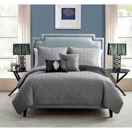 VCNY Hayden Two-Tone Geometric Embroidered Reversible 5-Piece Bedding Quilt Set, Decorative Pillows Included