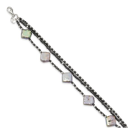 Fw Cult Pearl (Sterling Silver Hematite & FW Cult. Pearl 3-Strand Bracelet or)
