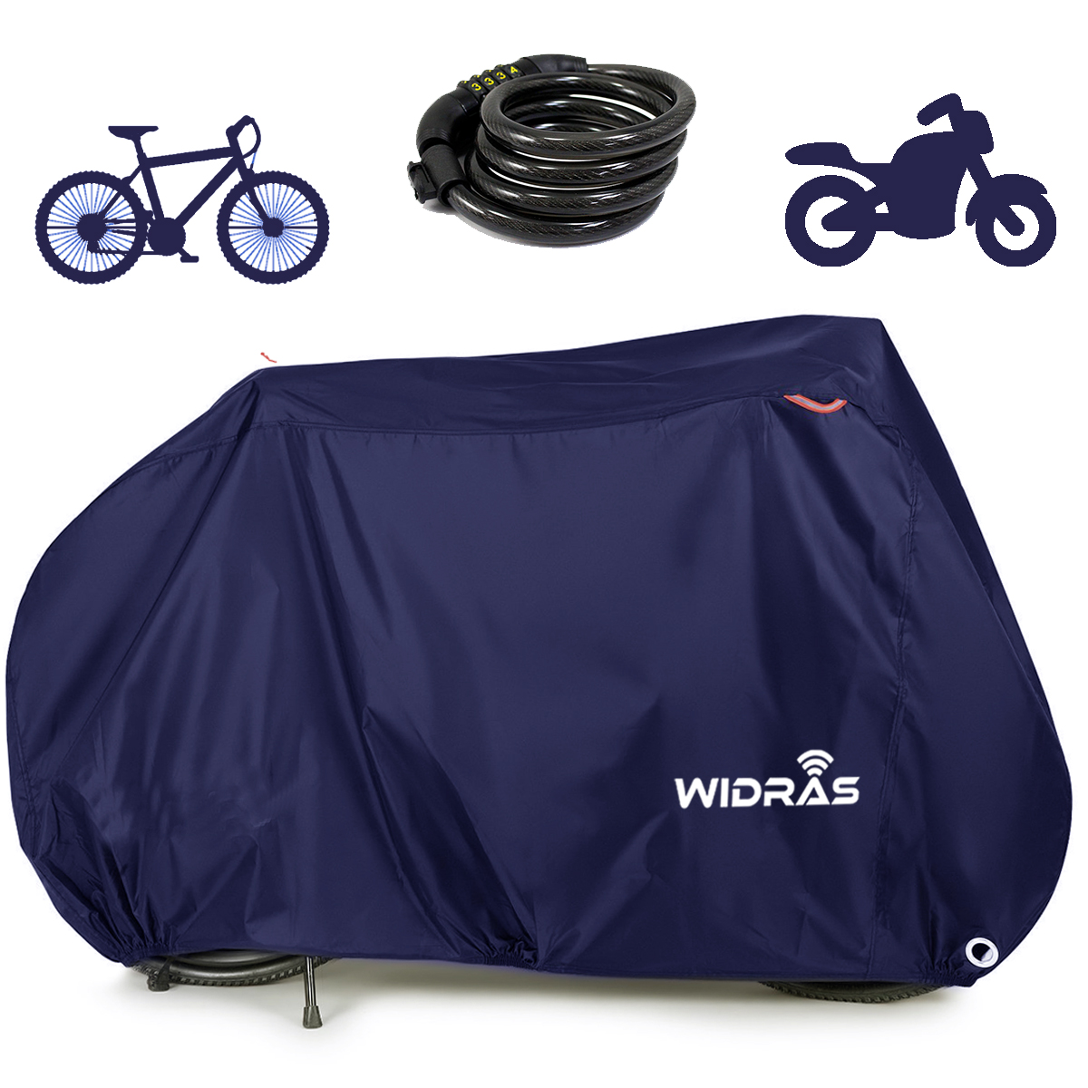 Widras Bicycle and Motorcycle Cover for Outdoor Storage Bike Heavy Duty Rip stop Material, Waterproof & Anti-UV Protection from All Weather Conditions for Mountain & Road Bikes