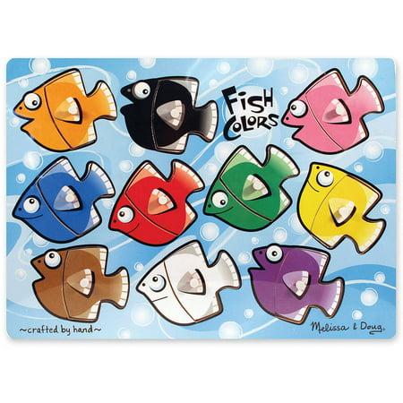 Melissa & Doug Fish Colors Mix 'n Match Wooden Peg Puzzle, 10pc