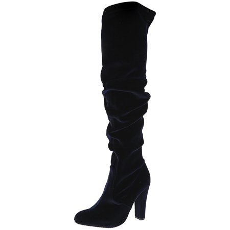 871744dbe68 Steve Madden Women s Gorgeous Velvet Navy Knee-High Suede Equestrian Boot -  7M - image ...
