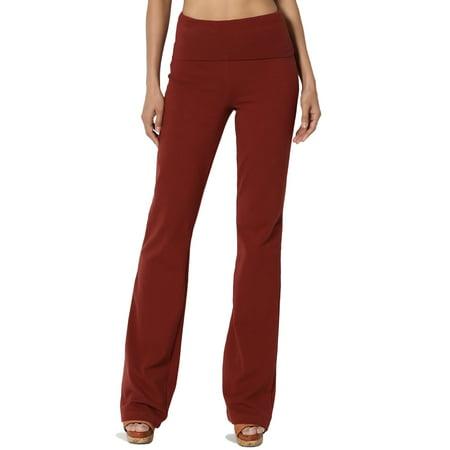 TheMogan Women's PLUS Thick Stretch Cotton Foldover Waist Bootcut Yoga Pants