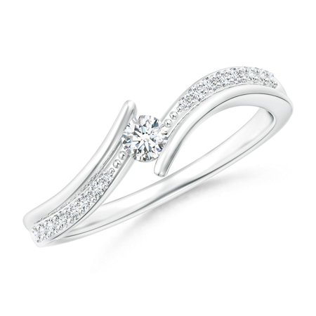 April Birthstone Ring - Solitaire Diamond Twin Shank Bypass Ring in Platinum (3mm Diamond) - SR1637D-PT-GVS2-3-8