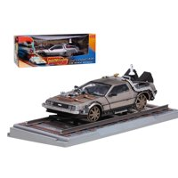 "Delorean From Movie Back To The Future 3"" Railroad Time Machine 1/18 Diecast Model Car by Sunstar"""