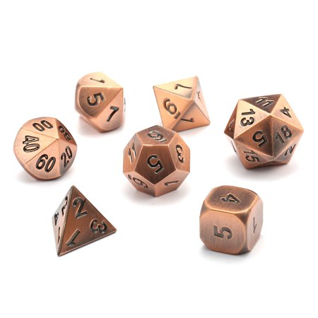 7Pcs Polyhedral Dice,Antique Metal Polyhedral Dice w Bag for Dungeons & Dragons and Other RPG's Role Playing Board Game