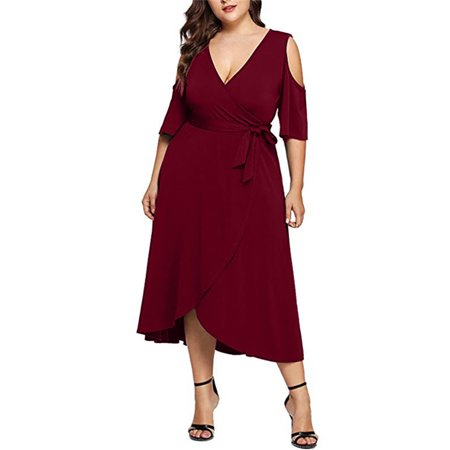 Womens Cold Shoulder V Neck Summer Party Lace Up Cocktail Gown Midi Dress