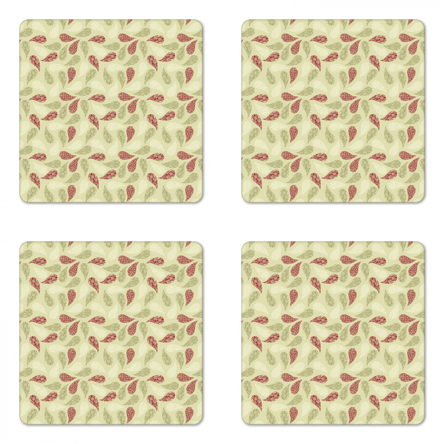 Paisley Coaster Set Of 4 Modern Design With Floral Like Patterns On The Leaf Like Shapes Print Square Hardboard Gloss Coasters Standard Size Red And Pale Green By Ambesonne Walmart Com