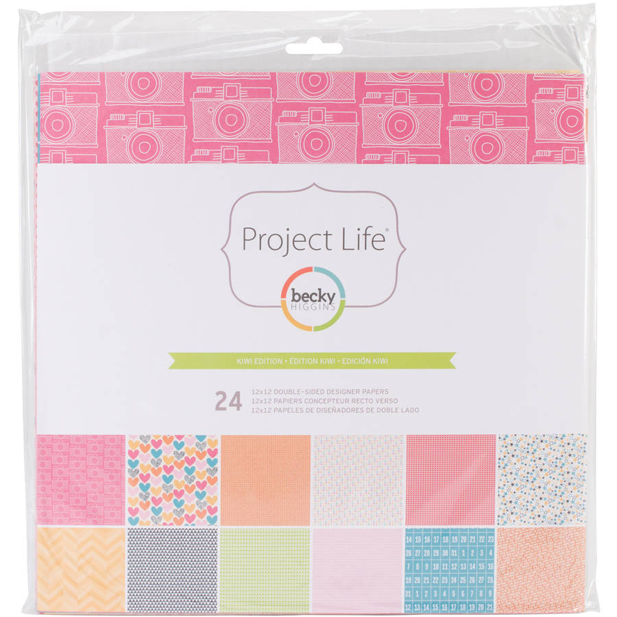 "Project Life Designer Paper Collection Pack, 12"" x 12"", 24pk, Kiwi"