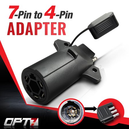 OPT7® 7 Way Flat Blade to 4 Way Pin Adapter w/ Secure Tab - For Trailer Tow Hitch and Redline Tailgate LED - Weatherproof Construction White Led Tailgate