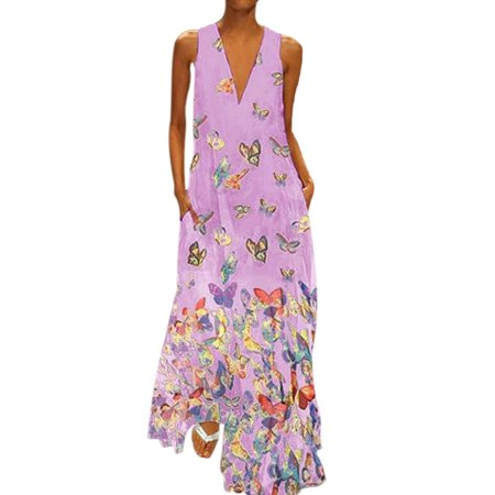 Plus Size Bohemia Dress Women Butterfly Print Long Maxi Dress Sleeveless V Neck Evening Party Cocktail Beach Casual Dress Butterfly Print V-neck Dress