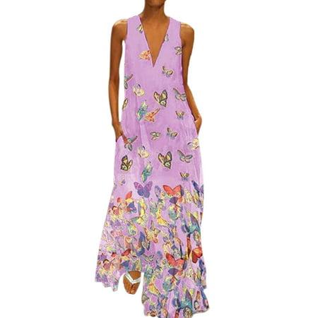 Plus Size Bohemia Dress Women Butterfly Print Long Maxi Dress Sleeveless V Neck Evening Party Cocktail Beach Casual