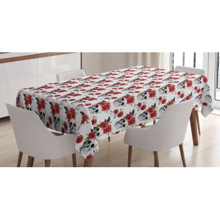 Rose Tablecloth, Watercolor Art Style Skull with Red Roses and Buds Gothic Halloween Pattern, Rectangular Table Cover for Dining Room Kitchen, 52 X 70 Inches, Vermilion Black Green, by Ambesonne - Halloween Pages To Colour