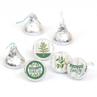 Family Tree Reunion - Family Gathering Party Round Candy Sticker Favors - Labels Fit Hershey's Kisses (1 Sheet of 108)