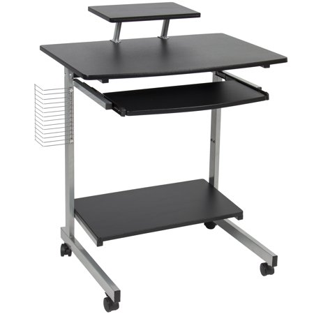 - Best Choice Products Portable Computer Desk Cart PC Laptop Table Study Workstation w/ Built-In Caster Wheels, CD/DVD Rack for Student, Dorm, Home Office - Black