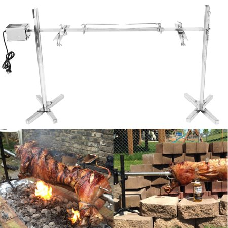 Hot Stainless Steel Complete Grill Rotisserie Kit Portable Camping Spit Roaster Rod Large Grill Charcoal BBQ Barbecue Stand Pig Chicken