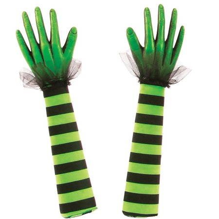 Fun World 91277G Halloween Witches Arms Yard Stake, Green & Black